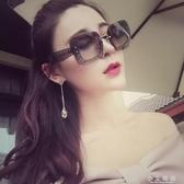 太陽眼鏡 女太陽鏡 女款無框透灰閃片瘦臉大方框墨鏡 小艾時尚