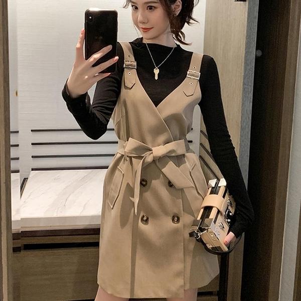 吊帶裙 春秋新款小個子收腰上衣洋氣西裝裙減齡休閒 莎瓦迪卡