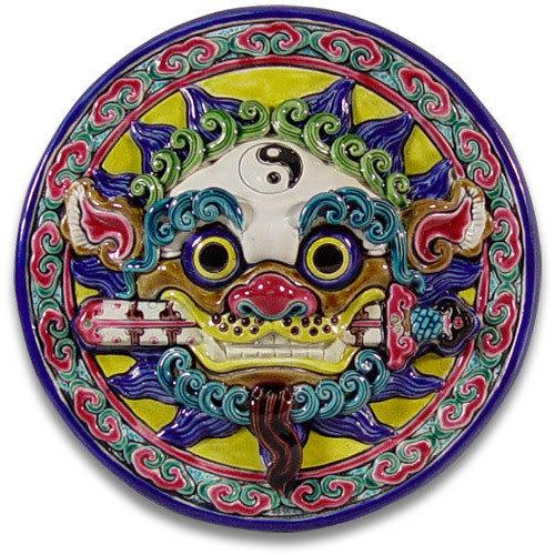 鹿港窯-交趾陶居家開運裝飾壁飾~M太極咬劍獅王