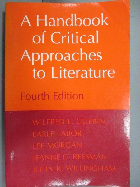 【書寶二手書T5/文學_OEK】A Handbook of Critical Approaches to Literat