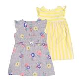 Carter s卡特 蝴蝶袖洋裝(2入)+ 三件組 黃條紋   女寶寶套裝(嬰幼兒/兒童/小孩)