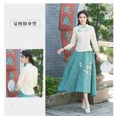 中國風中式茶服女唐裝漢服盤扣七分袖上衣
