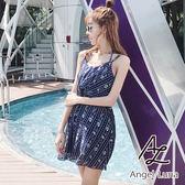 比基尼泳裝-日本品牌AngelLuna 現貨 深藍圖騰褲裙罩衫三件式溫泉沙灘泳衣