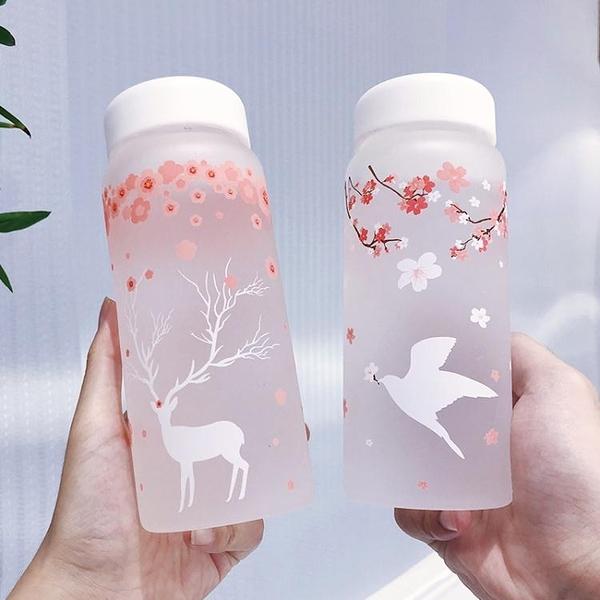 創意櫻花磨砂玻璃杯便攜可愛女學生網紅水杯韓國水瓶清新隨行杯子