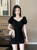 一字肩洋裝 V領性感連身裙2021夏季新款韓版一字肩褶皺氣質修身顯瘦包臀短裙 嬡孕哺
