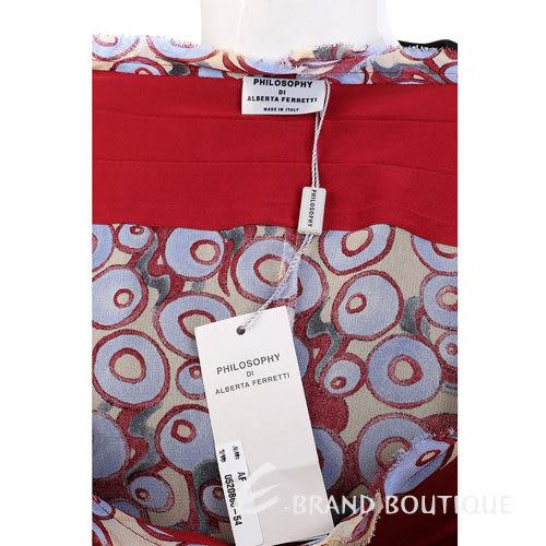 PHILOSOPHY  紅色圓點印花長袖洋裝 0520866-54