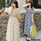 (現貨+預購FUWAFUWA)-加大尺碼碎花方領雪紡短袖洋裝