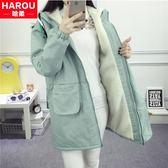 加絨加厚外套少女初中學生韓版中長款羊羔毛衛衣服 格蘭小舖