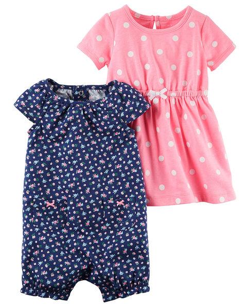 2件組短袖連身裝連身洋裝套裝: 深藍碎花: 121H337