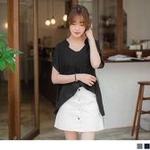 OB  ~AB3241 ~素色立體打摺 半開襟連袖雪紡上衣.2 色適S XL