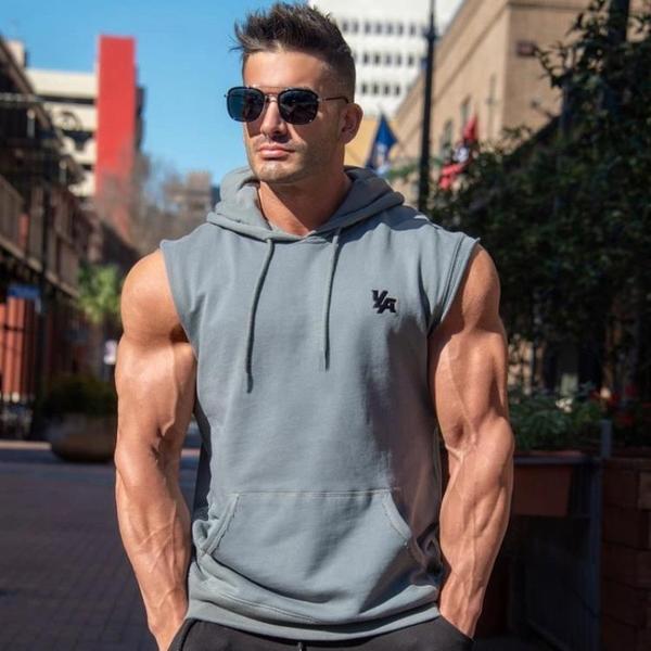 潮流背心 健身國際運動短袖T恤男坎肩連帽衫馬甲背心擼鐵肌肉兄弟上衣大碼