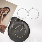 s925純銀針歐美耳環誇張大牌圓圈圈款大耳圈圓環氣質韓版個性女潮 新年禮物