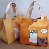 便當包袋日式飯盒袋小身材大容量女帆布棉麻手提拎包【古怪舍】