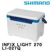 漁拓釣具 SHIMANO INFIX LIGHT LI-027Q 27公升 白 / 白藍 (硬式冰箱)