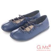 G.Ms.*MIT系列-牛皮鬆緊帶饅頭休閒鞋-樂活藍