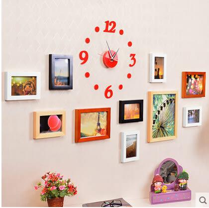 實木照片牆 創意時尚鐘錶組合相片牆 相框牆