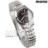mono Scoop 簡約時刻精美時尚腕錶 女錶 防水手錶 日期視窗 不銹鋼 SB1215黑金小