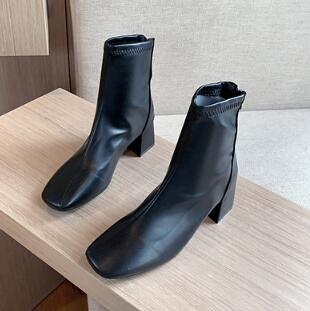靴子 馬丁靴女英倫風2021新款春秋季單靴方頭粗跟網紅瘦瘦高跟鞋短靴子【快速出貨八折搶購】