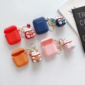 蘋果 AirPods 吉祥貓吊飾 保護套 Apple藍牙耳機盒 保護套 矽膠 軟殼