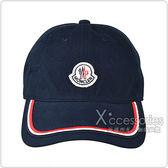 MONCLER刺繡LOGO紅白黑織帶設計棉布棒球帽(藍)