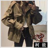 外套【8206】秋冬縮腰顯瘦抽繩軍裝純色軍綠色長袖中長版風衣外套
