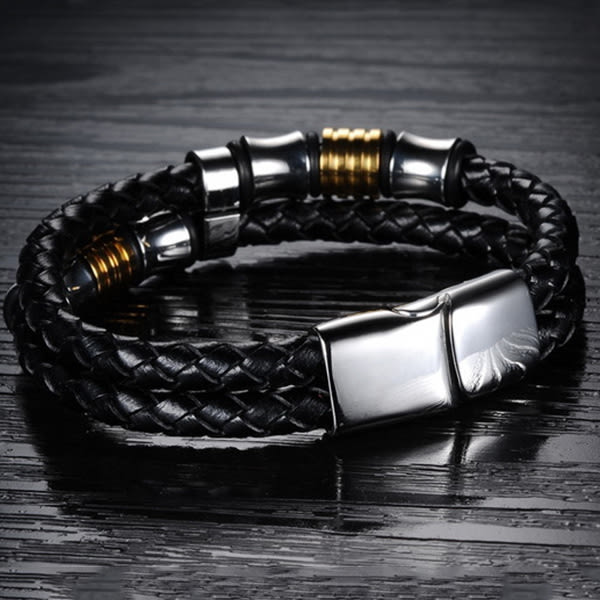 《 QBOX 》FASHION 飾品【L100N887】精緻個性民族風多層次編織鋼環皮革手鍊/手環