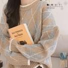 【QV3161】魔衣子-復古撞色菱格寬鬆長袖毛衣上衣