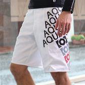 ★奧可那★白色文字海灘褲