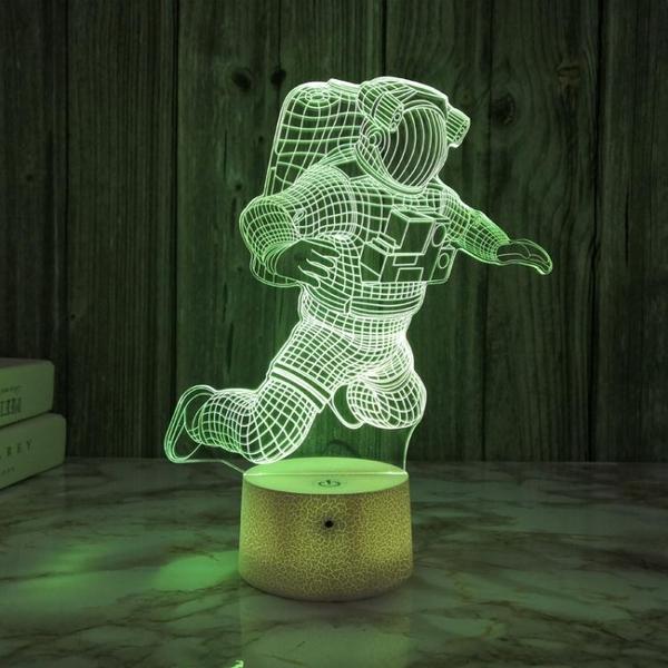 宇航員3d小夜燈usb接口插電床頭氛圍燈臥室護眼燈酒吧桌面裝飾燈 「ATF夢幻小鎮」