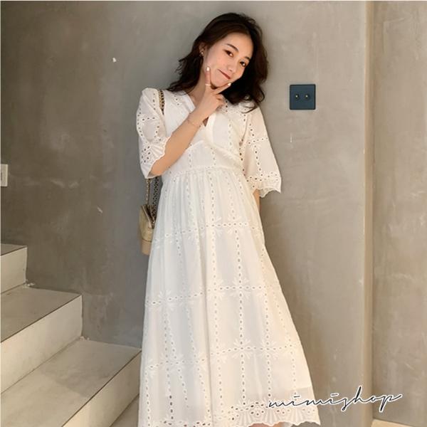 孕婦裝 MIMI別走【P52899】微風輕旅行 鏤空蕾絲連身裙 洋裝 附內搭吊帶