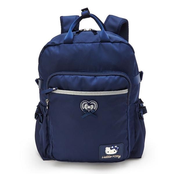 小禮堂 Hello Kitty 尼龍雙層後背包 防潑水後背包 休閒背包 書包 14L (深藍 緞帶) 4550337-22954