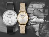 【時間道】EMPORIO ARMANI亞曼尼 簡約羅馬刻情人對錶組 /白面羅馬刻度 (AR1674+AR11127)免運費