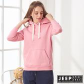 【JEEP】女裝 狐狸圖騰刺繡連帽TEE (粉色)