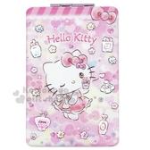 〔小禮堂〕Hello Kitty 塑膠長方型隨身雙面鏡《粉黃.香水瓶》放大鏡.折鏡 4710243-59818