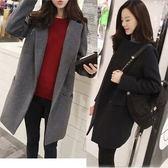 韓國連線秋冬新款韓版女中長款簡約西裝加棉長大衣羊絨呢子厚外套(現貨)16238快時尚