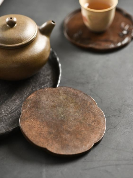 一紀手工銅杯墊盞托梅花蘭花菊花竹子防滑杯托茶托墊功夫茶具