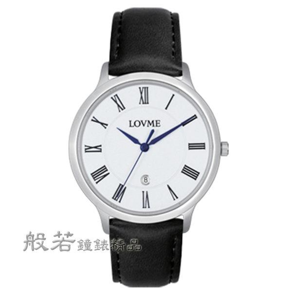 LOVME 中性超薄羅馬字藍針皮帶錶-白面