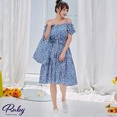 洋裝 一字領碎花綁帶細肩短袖洋裝-Ruby s 露比午茶