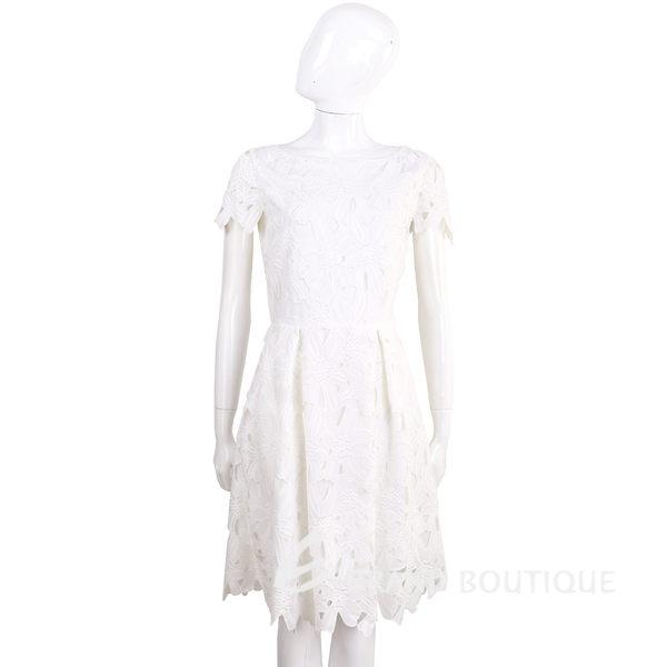 BLUGIRL 白色浮雕織花蕾絲短袖洋裝 1620463-20