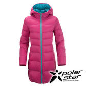 PolarStar 女 長版超輕連帽羽絨外套 『玫瑰紅』 P15238