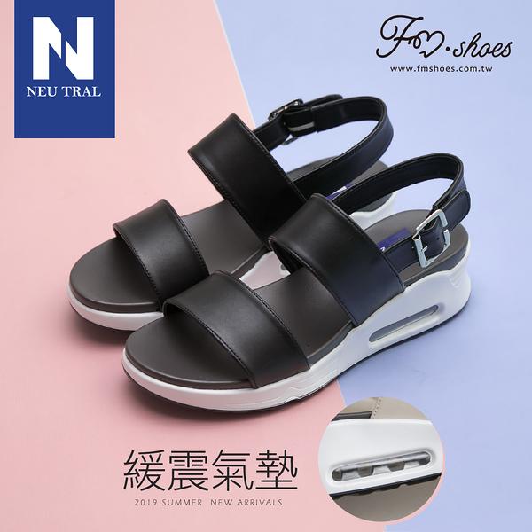 涼鞋.一字寬帶氣墊涼鞋-黑-FM時尚美鞋-NeuTral.Shiny