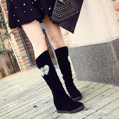 長靴女士秋冬季內增高秋冬韓國絨面純色休閒舒適騎士靴潮 可可鞋櫃