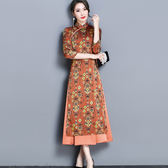 改良旗袍 新款女裝春裝中國風碎花復古禮服 LQ4244『小美日記』