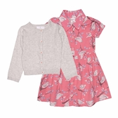 Carter s卡特 針織薄外套+短袖洋裝+套裝三件組 灰色 | 女寶寶連衣裙(嬰幼兒/兒童/小孩)