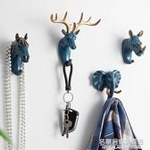北歐玄關掛鑰匙鹿頭動物掛鉤創意服裝店試衣間衣帽收納牆上裝飾品 NMS名購新品