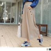 《BA6077-》鈕釦設計大口袋腰鬆緊寬褲裙 OB嚴選