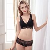 蕾絲內衣套裝(胸罩+內褲)-高貴深V半罩性感內衣4色73ho9【時尚巴黎】