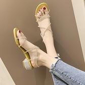 綁帶涼鞋 涼鞋女仙女風2020夏新款簡約學生露趾交叉綁帶粗跟風