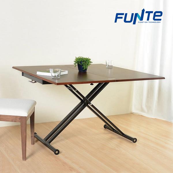 【FUNTE】多功能旋轉折疊升降桌/升降茶几/昇降桌/茶几桌/餐桌/咖啡桌/書桌/100X100CM