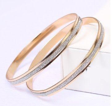 B039900087 【一入】韓國 時尚 圈磨砂玫瑰金 手環 手鐲 飾品禮物E5063